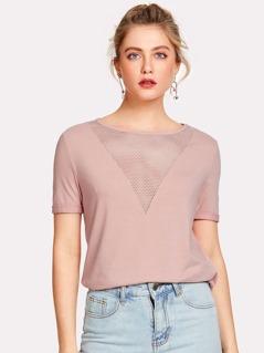 Eyelet Mesh V Neck T-shirt