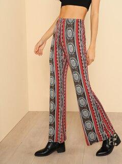 Tribal Print Flare Hem Pants