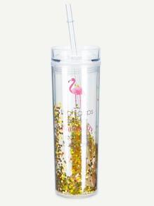 Glitter Straw Tumbler Cup ROMWE