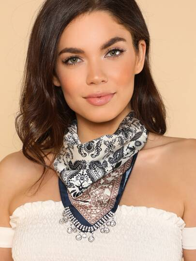 Bandana Necklace with Jewel Detailed Hem BLUE BROWN