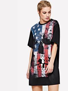 Distressed Graphic Print Dress