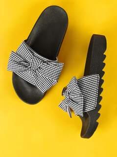 Gingham Bow Open Toe Slide Sandal BLACK