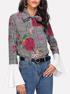 Tie Neck Mixed Print Contrast Flounce Sleeve Top