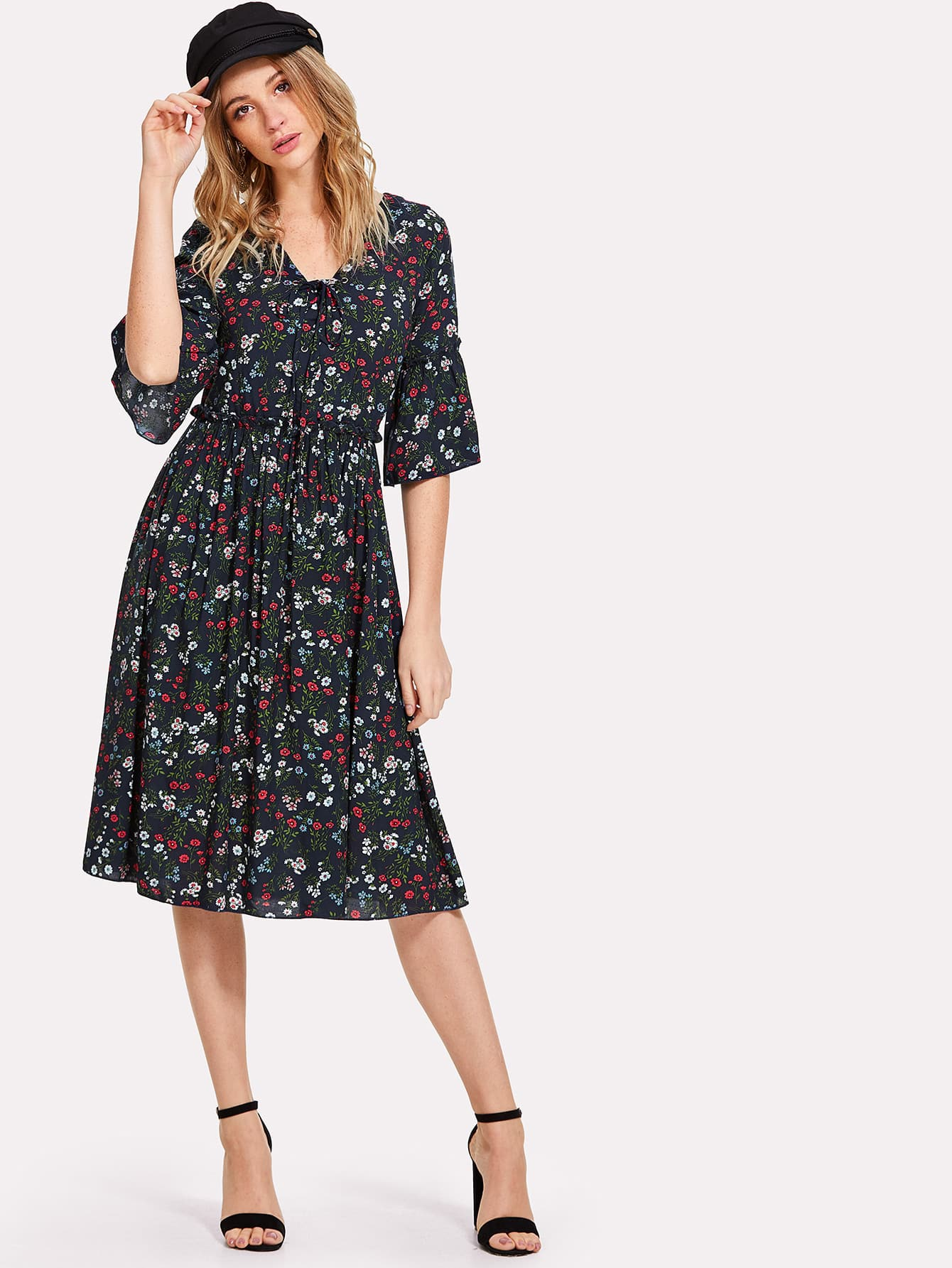 Lace Up Front Trumpet Sleeve Floral Dress lace up front striped sleeve dress
