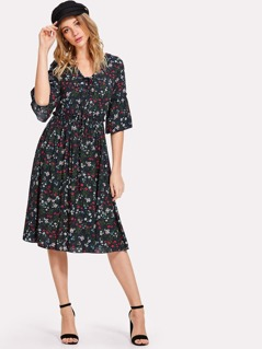 Lace Up Front Trumpet Sleeve Floral Dress