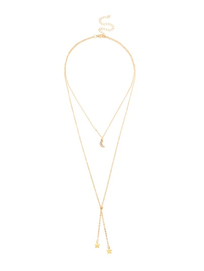 Layered Chain Lariat Necklace