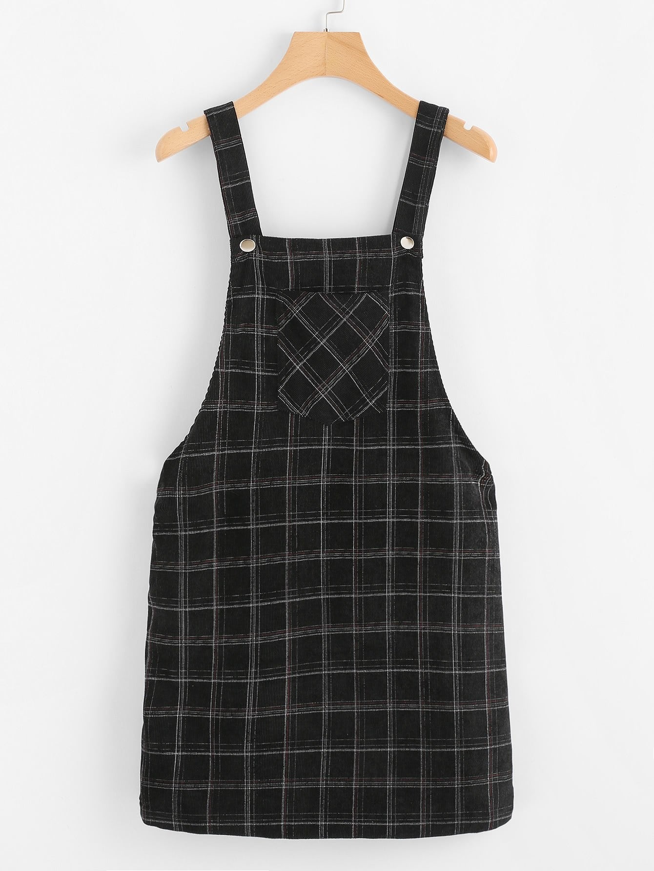 Pocket Front Plaid Overall Dress overall yumi overall