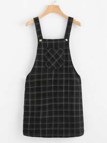 Pocket Front Plaid Overall Dress