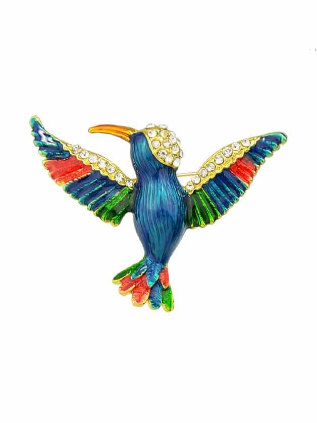 Enamel Bird Brooch enamel colorful leaves bird brooch