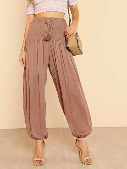 Shirred Detail Tasseled Drawstring Waist Harem Pants MOCHA