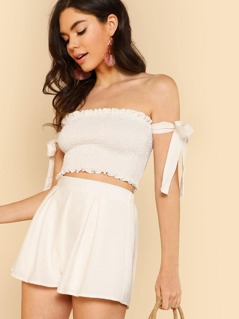 Shirred Crop Top with Off Shoulder Tie and Matching Mini Skirt OFF WHITE