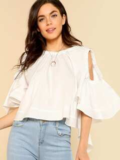Cold Shoulder Puff Flared Sleeve with Flounce Detail WHITE