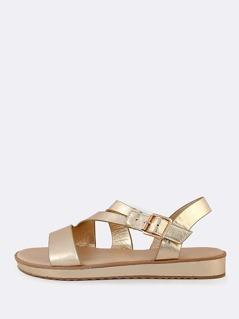 Metallic Asymmetric Strap Sling Back Sandal GOLD