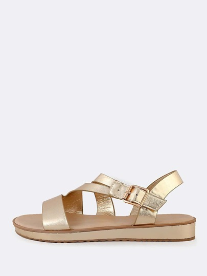 Metallic Asymmetric Strap Sling Back Sandal GOLD