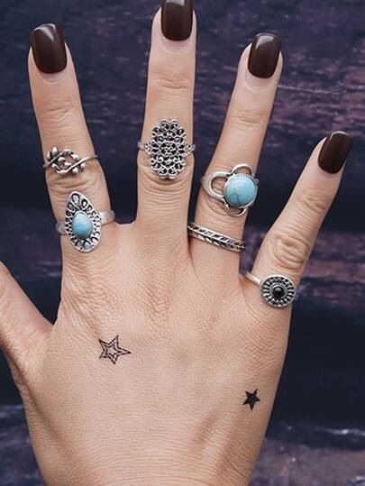 6Pcs/Set Branches Pattern Blue Stone Rings