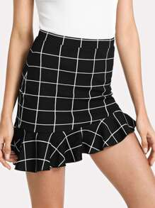 Asymmetrical Ruffle Hem Grid Skirt