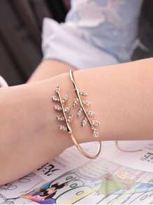 Rhinestone Leaf Wrap Bangle