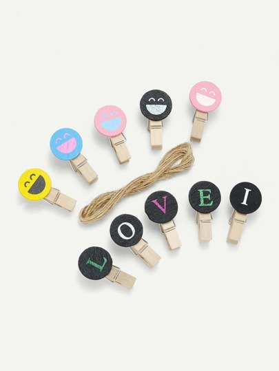 Round Wooden Clips 10Pcs