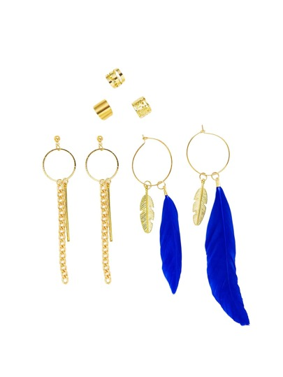 Feather & Chain Detail Hoop Drop Earring Set