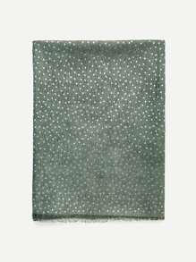 Metallic Star Print Raw Edge Scarf