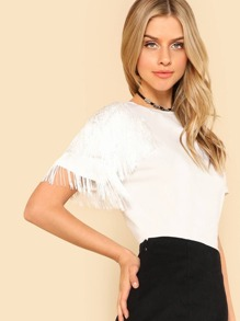 One Side Fringe Embellished T-shirt