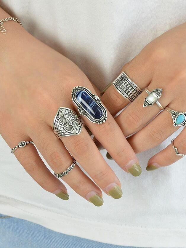 8Pcs/Set Stone Set Jewelry Ring set in stone