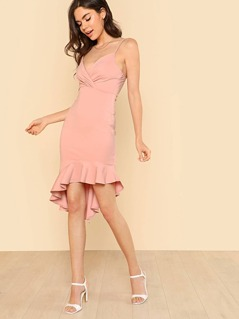 Spaghetti Strap Surplice Dress with Ruffle Hem MAUVE