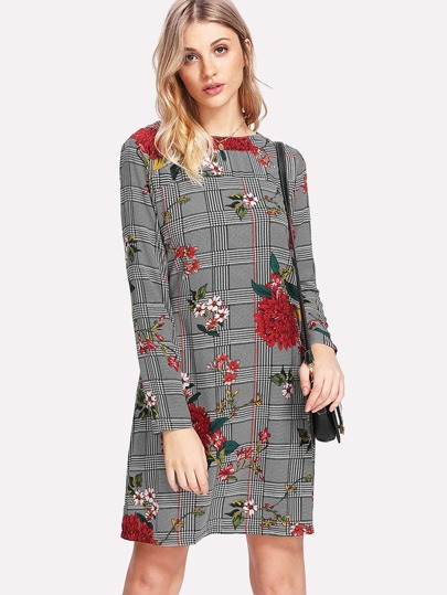 Glen Plaid Florals Tunic Dress