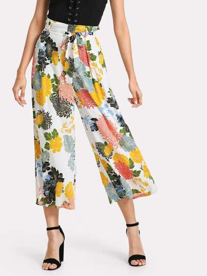 Belted Flower Print Wide Leg Pants