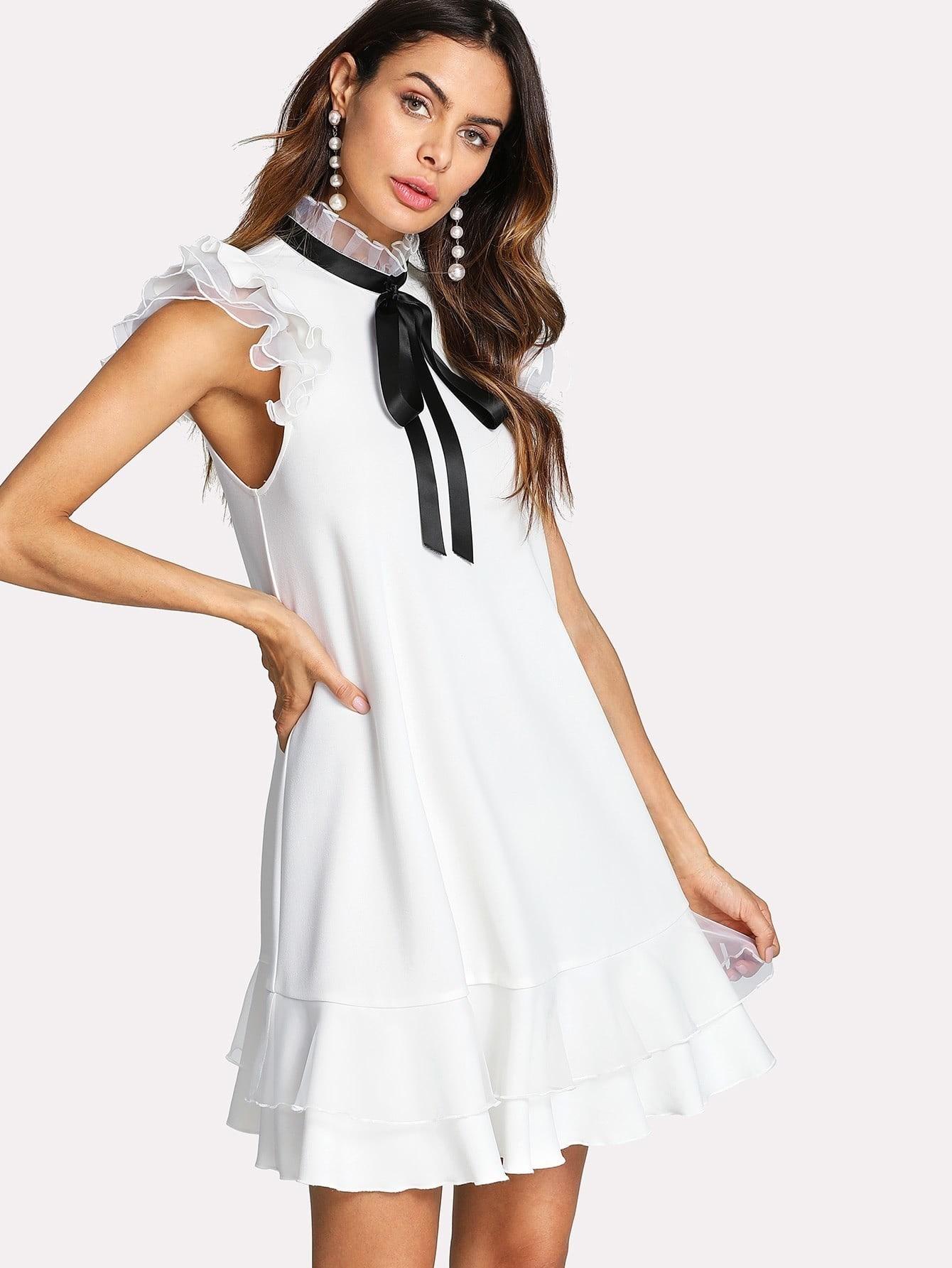 Tie Neck Frill Trim Layered Hem Dress black one shoulder frill layered design jumpsuit