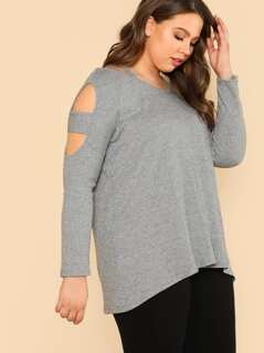 Plus Cut Out Sleeve Ribbed Knit Top GREY