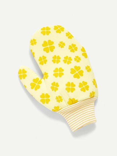 Clover Print Scrub Gloves Exfoliating Body Towel