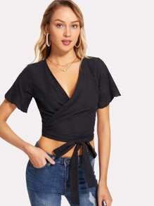 Embroidered Detail Knot Hem Surplice Wrap Crop Top