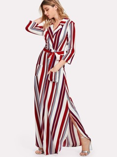 Tie Waist Pocket Patched Striped Dress