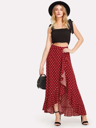 Asymmetrical Ruffle Trim Polka Dot Skirt