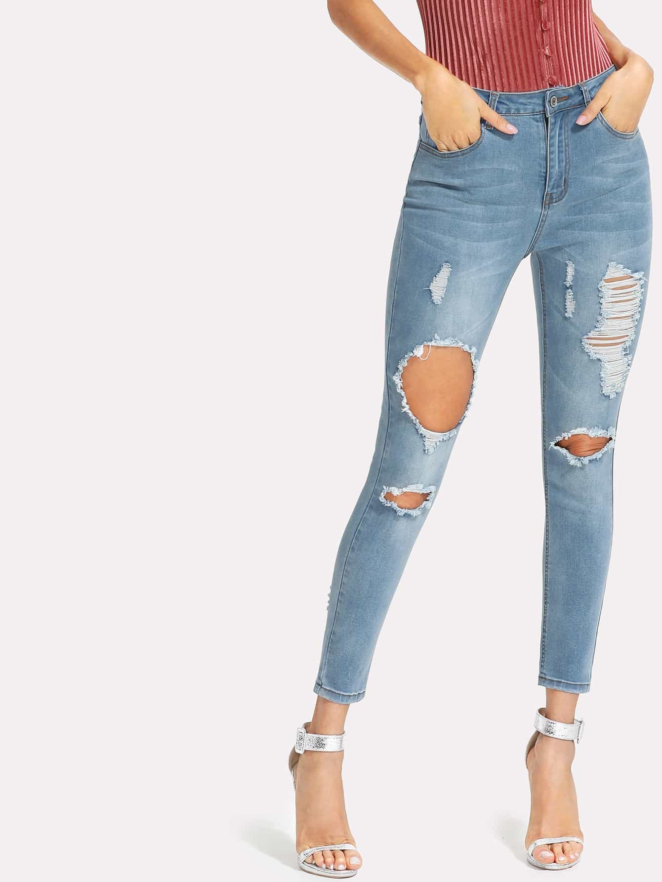 Bleached Wash Ripped Crop Jeans boyfriend hole ripped low waist jeans women vintage lace floral cool denim pencil pants lady bleached washed push up jeans femme