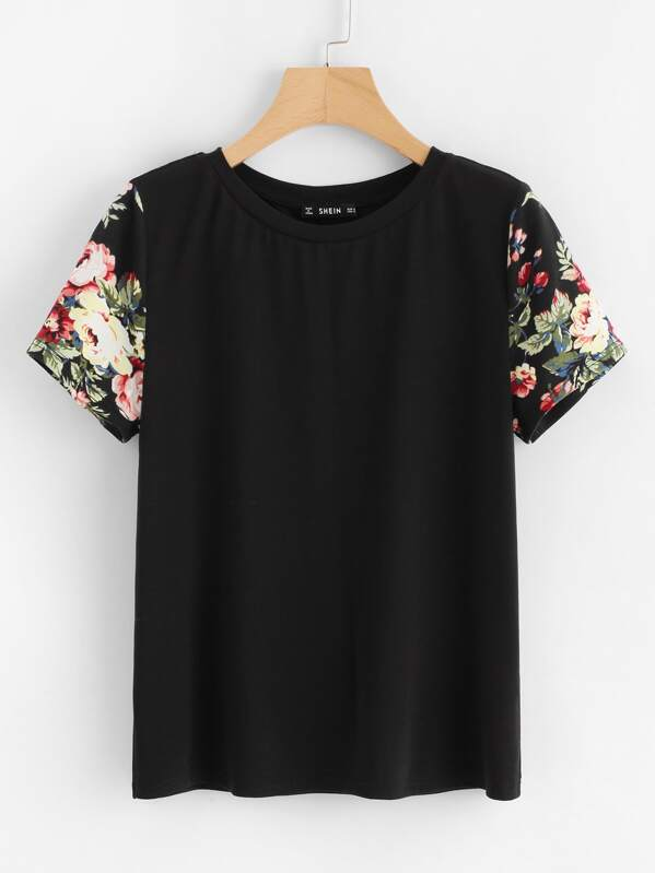 Floral Print Sleeve Tee, null