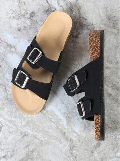 Double Buckled Strap Cork Footbed Sandal BLACK