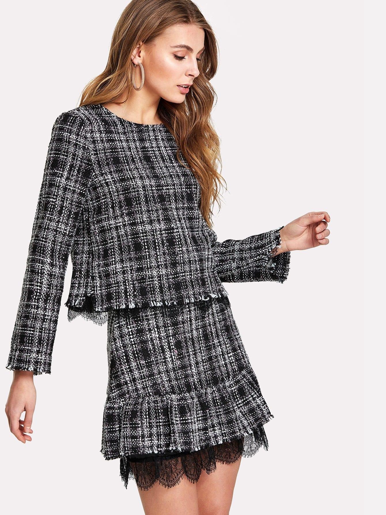 Lace Trim Ruffle Tweed Skirt frayed trim open front tweed blazer