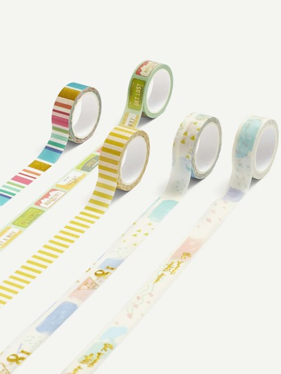 Stripe & Cartoon Print Masking Tape 5 Pcs