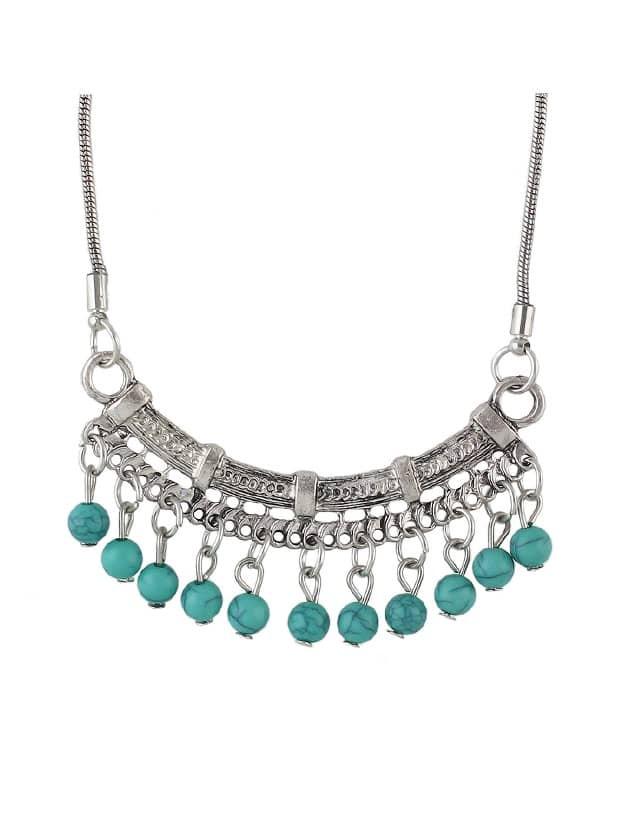 Blue Beads Geometric Pendant Necklace beads pendant necklace