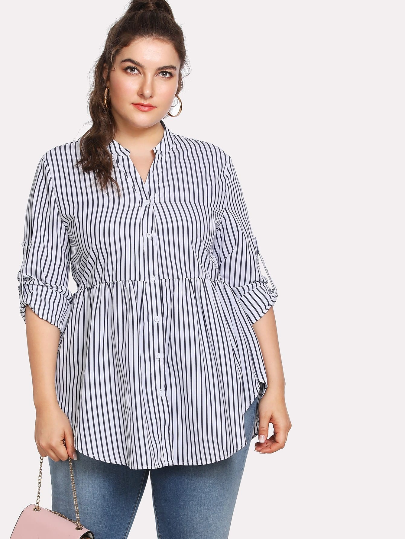 Rolled Sleeve Curved Hem Striped Shirt striped rolled hem shorts