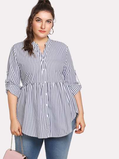 Rolled Sleeve Curved Hem Striped Shirt