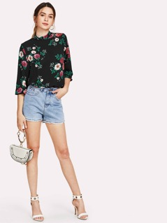 Floral Print Mock Neck Top