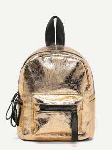 Metallic Zipper Pocket Front Backpack