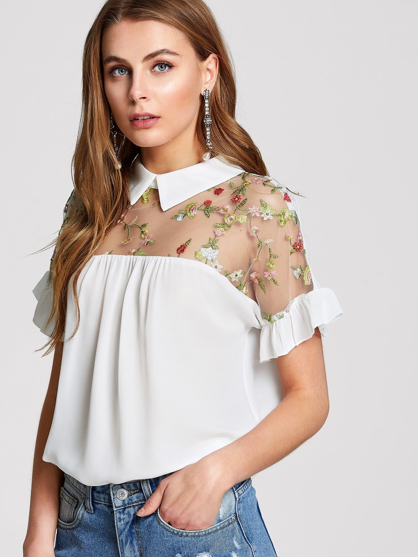 Embroidered Illusion Yoke Ruffle Top illusion lace yoke tunic top