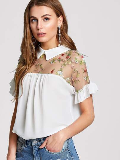 Embroidered Illusion Yoke Ruffle Top