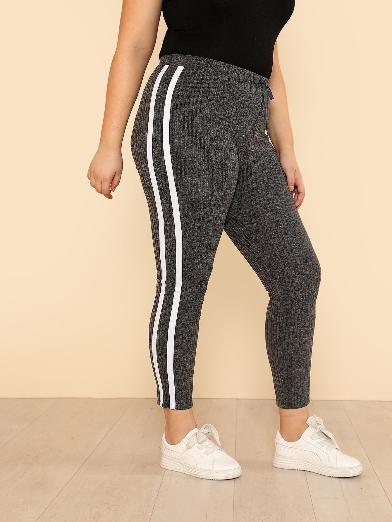 Drawstring Waist Rib Knit Striped Leggings drawstring waist side striped leggings