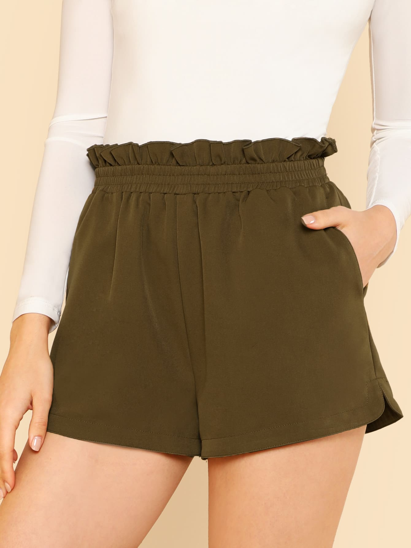 Frilled Shirred Waist Shorts shirred waist zip back fit