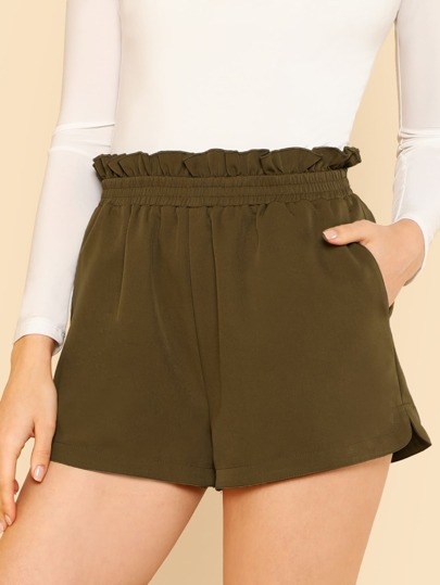 Frilled Shirred Waist Shorts